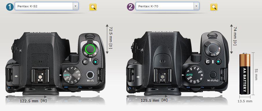 K-S2とK-70 厚みの違い